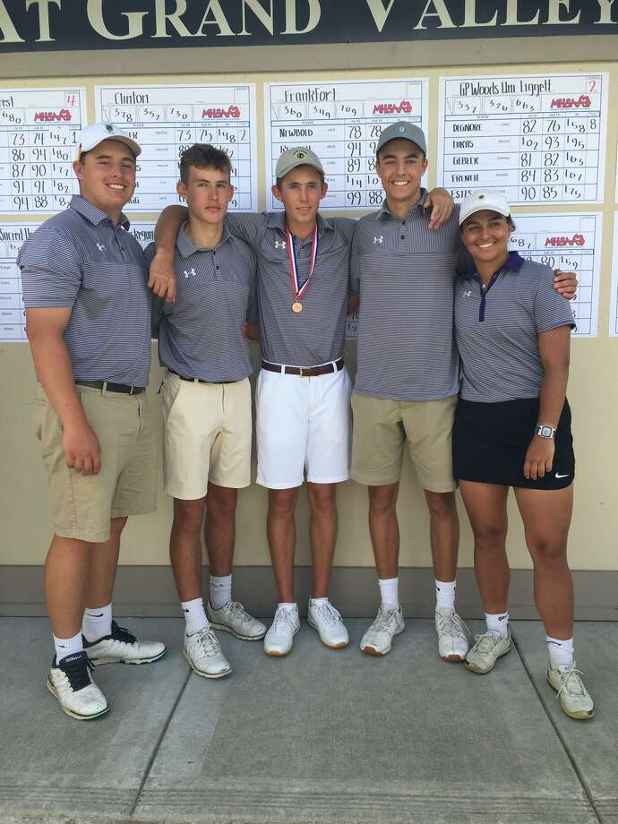 Frankfort golfers Jack Reznich, Daniel Newbold, Will Newbold, Luke Hammon and Riley Thorr celebrate one last tournament together. (Courtesy photo)