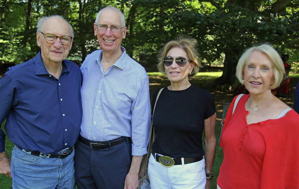 From left are Les Byelas of Fairfield, Jay Dirnberger of Westport, Ellen Lubell of Fairfield, and Molly Alger of Westport at the eighth annual Beechwood Open on Sunday in Westport.