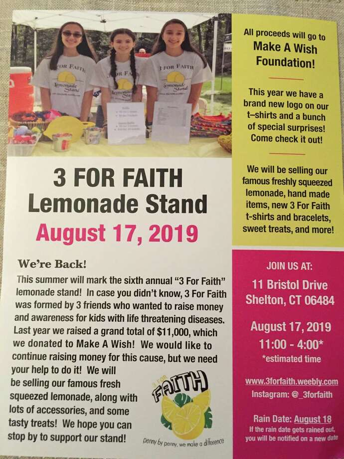 3 For Faith will host a lemonade stand on Saturday, Aug. 17, from 11 a.m. to 4 p.m., at 11 Bristol Drive in Shelton. All proceeds will go to the Make a Wish Foundation. Photo: Contributed Photo.