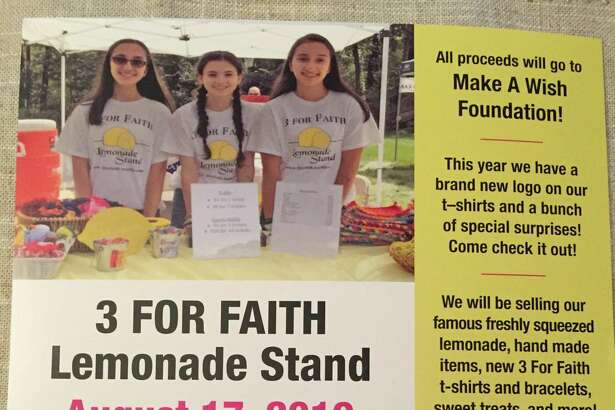 3 For Faith will host a lemonade stand on Saturday, Aug. 17, from 11 a.m. to 4 p.m., at 11 Bristol Drive in Shelton. All proceeds will go to the Make a Wish Foundation.