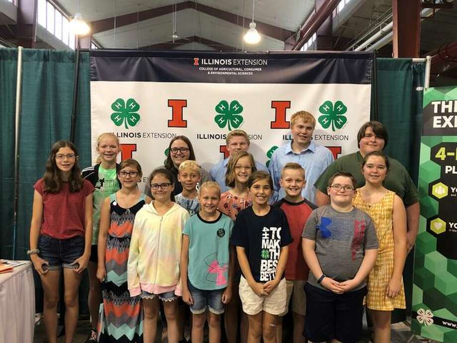 Jersey County 4-H members competing at the state fair this year included, front row from left: Keeley Shoemaker, Lucy Boes, Alayna Rothe, and Samuel Pulley; second row, Taylor Woodring, Kimberlee Ford, Clark Blasa, Dinah Slusser, Paul Slusser and Ava Pulley; third row, Lauren Lyons, Hannah Pryor, Colton Adams, Cameron Little and William Yurick.