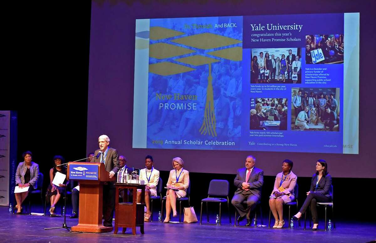 Yale University President Peter Salovey speaks during the New Haven Promise 2019 Annual Scholar Celebration August 15, 2019 at the Lyman Center for Performing Arts at Southern Connecticut State University.