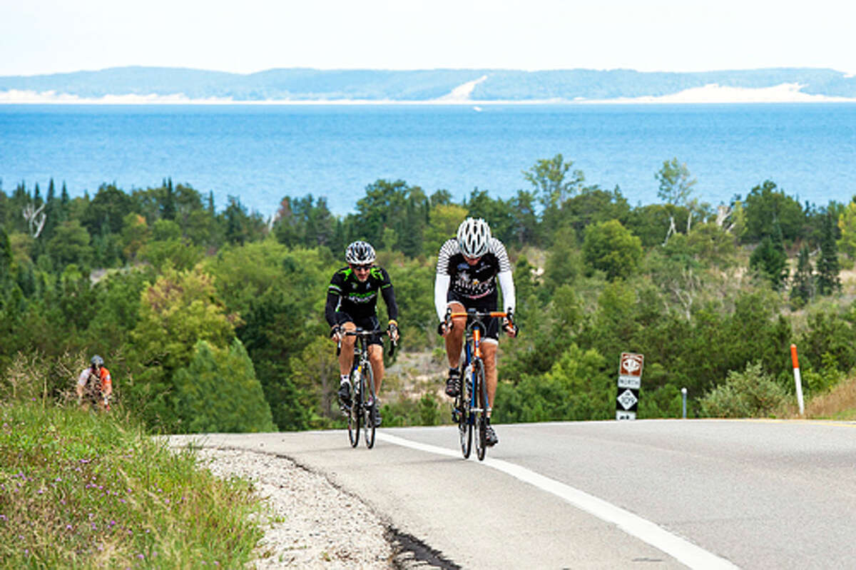GREAT RIDE, GREAT VIEWS: The hills on the 100 mile ride in the recent Bike Benzie Tour of the Benzie Sunrise Rotary Club were challenging, but the views were spectacular. (Photos/Steve Loveless)