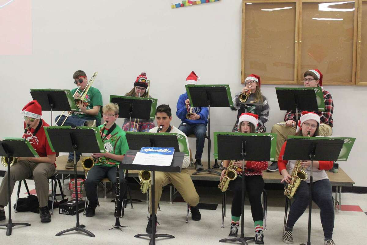 The Benzie Central Jazz Band performs during the school's holiday lunch on Dec. 20. (Photo/Robert Myers)