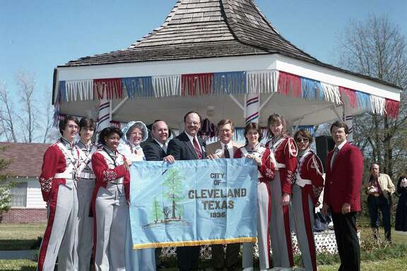 Former Cleveland High School band director Jim Jones, far right, attended numerous community events during his tenure at the school. Jones was installed in the Texas Bandmaster Hall of Fame in late July.