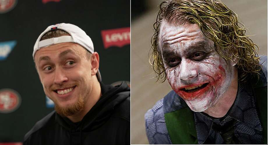 San Francisco 49ers tight end George Kittle and Heath Ledger's version of the Joker. Photo: Jim Gensheimer/Special To The Chronicle, REUTERS/Warner Bros./Handout