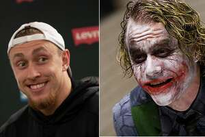 San Francisco 49ers tight end George Kittle and Heath Ledger's version of the Joker.