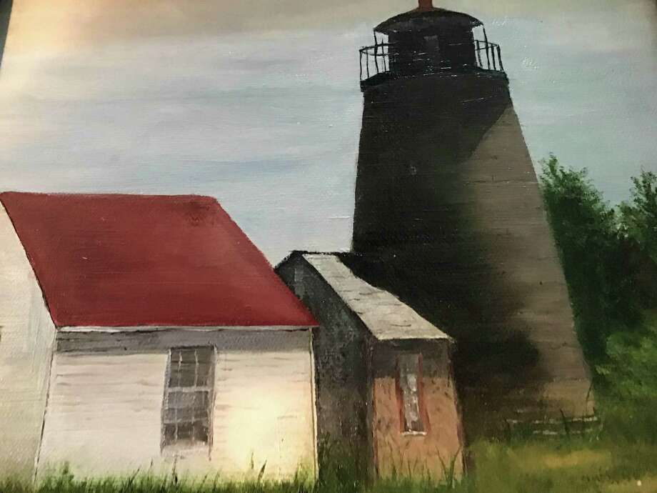 """Burnham Library in Bridgewater is presenting an exhibit of works by Jan Lewin and Cathy Barlow through August. It features oils, mixed media and marble papers. For more information, call the 62 Main St. South library at 860-354-6937. Above is """"Monomoy Light."""" Photo: Courtesy Of Burnham Library / The News-Times Contributed"""
