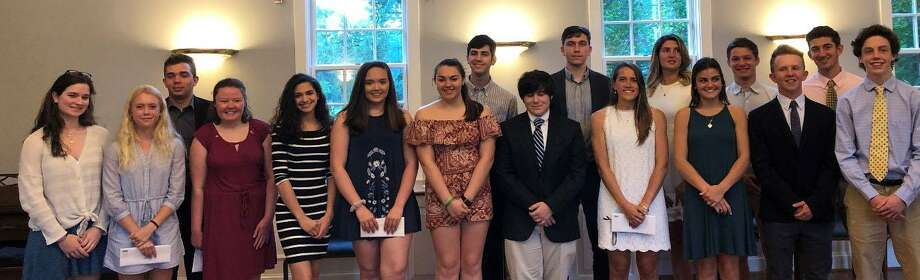 Scholarship recipients include, from left to right, in front, Shealyn Kennedy, Lauren Bresson, Lauren Desrochers, Elaina da Fonte, Grace Hardy, Briana Cichowski, Maxwell Krantz, Haley Pesce, Grace Wagnblas, Michael McCluskey and Tiernan Crossley and, in back, Matthew Marchese, John da Fonte, Clayton Schneider, Amanda Kovatch, Eamon Crossley and Jack Schneider. Photo: Courtesy Of Roxbury Scholarship Foundation / The News-Times Contributed