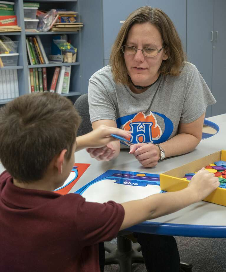 Stacey Hudson works with her students 08/16/19 in her life skills class at Henderson Elementary. Tim Fischer/Reporter-Telegram Photo: Tim Fischer/Midland Reporter-Telegram