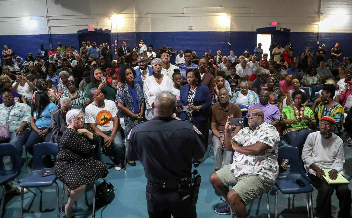 Galveston Police Chief Vernon Hale speaks with family members of Donald Neely, their attorneys, and members of the public during a meeting about Neely's arrest, on Tuesday, Aug. 6, 2019, in Galveston. During the arrest, horse-mounted officers used what appeared to be a rope to lead Neely down the street.