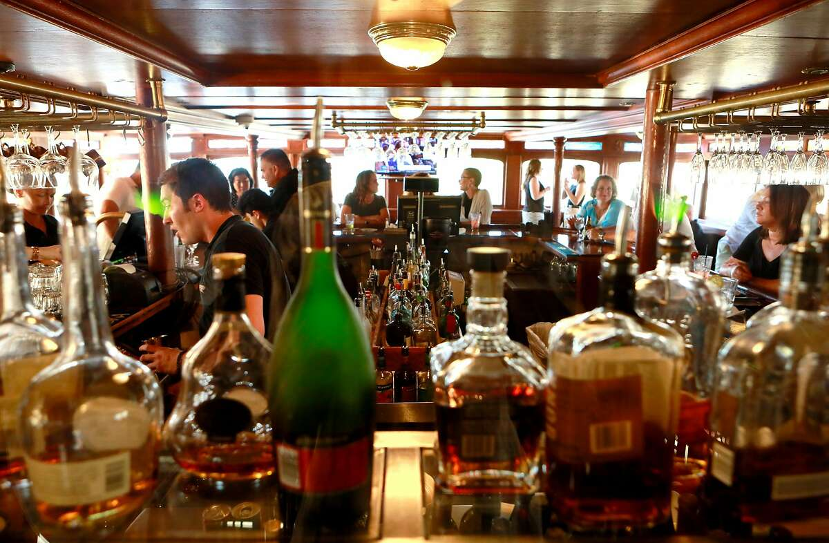 The indoor outdoor bar aboard the Delta King steamboat in Old Sacramento, Ca., on Sat. August 3, 2019.
