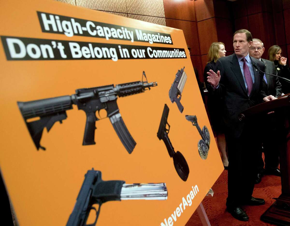 In this Feb. 12, 2019 file photo, Sen. Richard Blumenthal, D-Conn., speaks at a news conference on an proposed amendment to ban high capacity magazines in guns, on Capitol Hill in Washington.