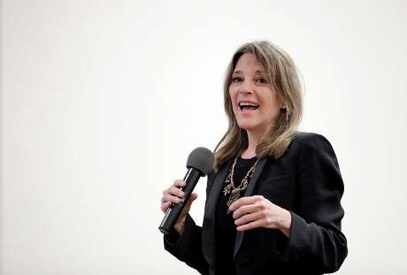 Presidential candidate Marianne Williamson on stage at the East Bay Church of Religious Science for a town hall meeting in Oakland, Calif., on Wednesday, August 14, 2019. The 2020 candidate spoke about wealth inequality, reparations to the African American descendants of slaves, and doing more that simply beating Donald Trump in the next election.