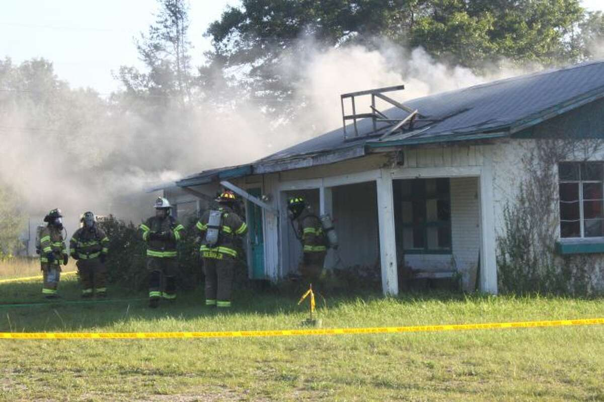 Firefighters ignited cardboard boxes in the abandoned building.
