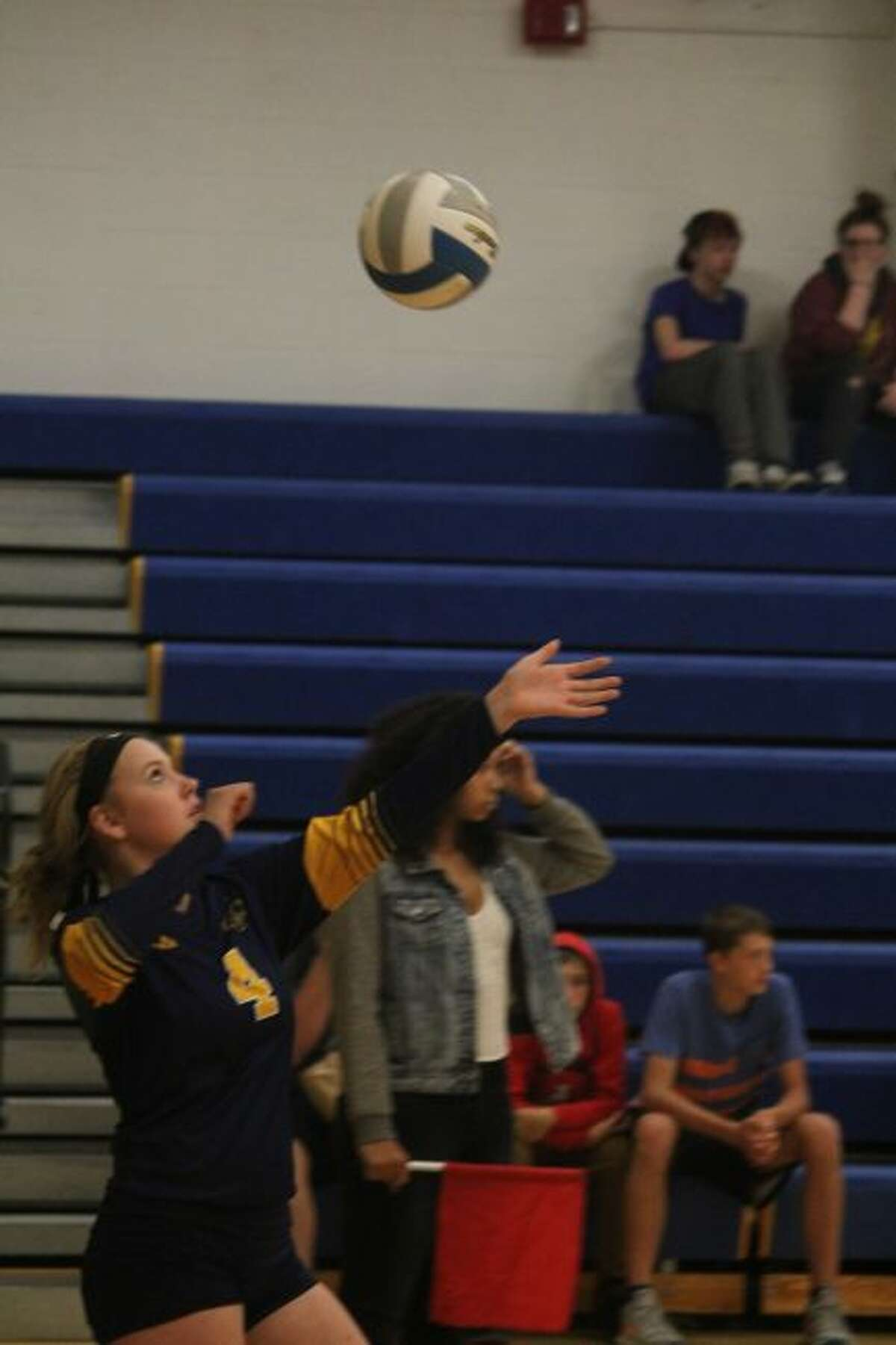 Kendra Speer gets set to serve the ball for Baldwin .