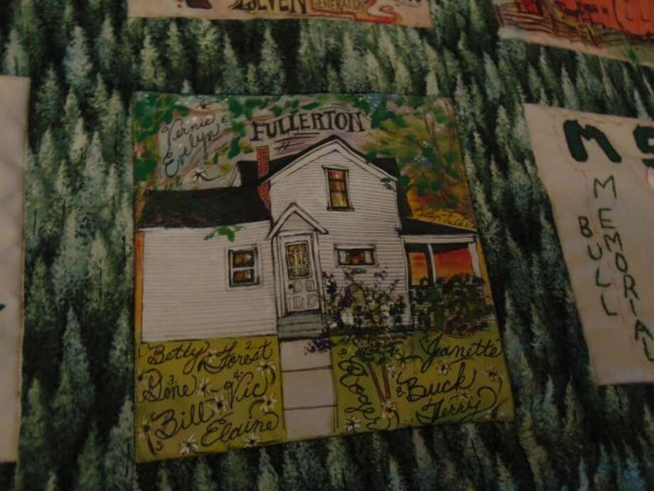 The Fullerton house is portrayed on a quilt featuring Luther families.