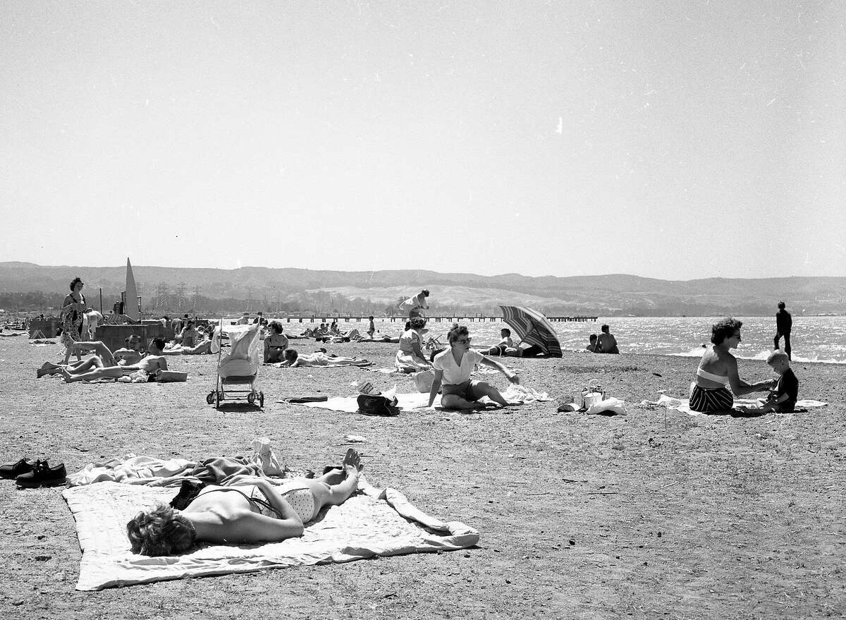 Coyote Point Recreation Area, with a beach and golf course, June 25, 1956