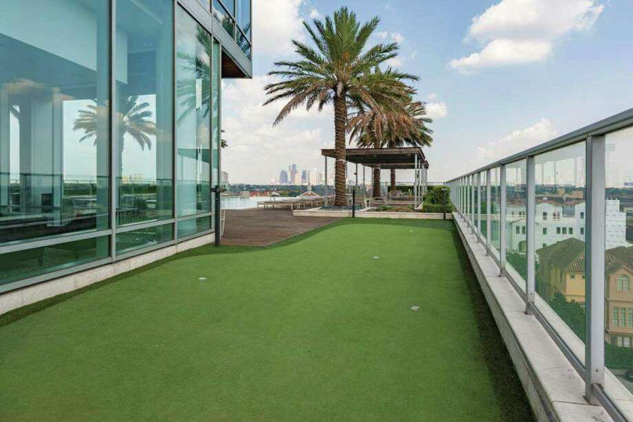 A five-cup putting green at 2727 Kirby