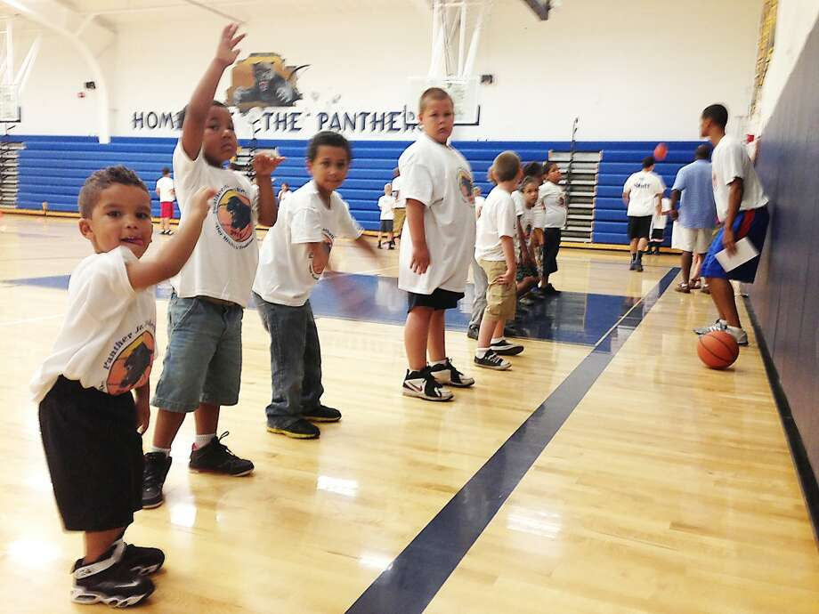 Youth basketball: Youngsters go through drills at the Baldwin youth basketball camp last week. (Star photo/John Raffel)