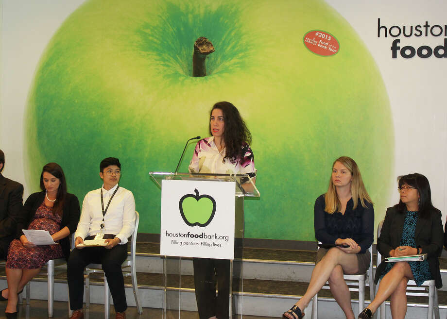 "Andrea Guttin, legal director for the Houston Immigration Legal Services Collaborative, speaking at a panel on the Trump administration's new ""public charge"" rule on Friday at the Houston Food Bank. Photo: Sarah Guardiola/Houston Food Bank"