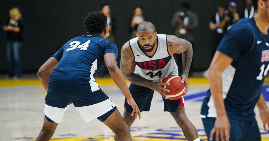 EL SEGUNDO, CALIFORNIA - AUGUST 14: PJ Tucker #44 handles the ball during a scrimmage at the 2019 USA Men's National Team World Cup training camp at UCLA Health Training Center on August 14, 2019 in El Segundo, California. (Photo by Cassy Athena/Getty Images) Photo: Cassy Athena/Getty Images