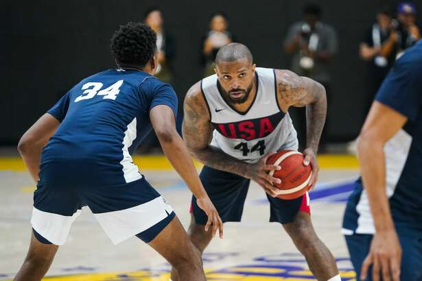 EL SEGUNDO, CALIFORNIA - AUGUST 14: PJ Tucker #44 handles the ball during a scrimmage at the 2019 USA Men's National Team World Cup training camp at UCLA Health Training Center on August 14, 2019 in El Segundo, California. (Photo by Cassy Athena/Getty Images)