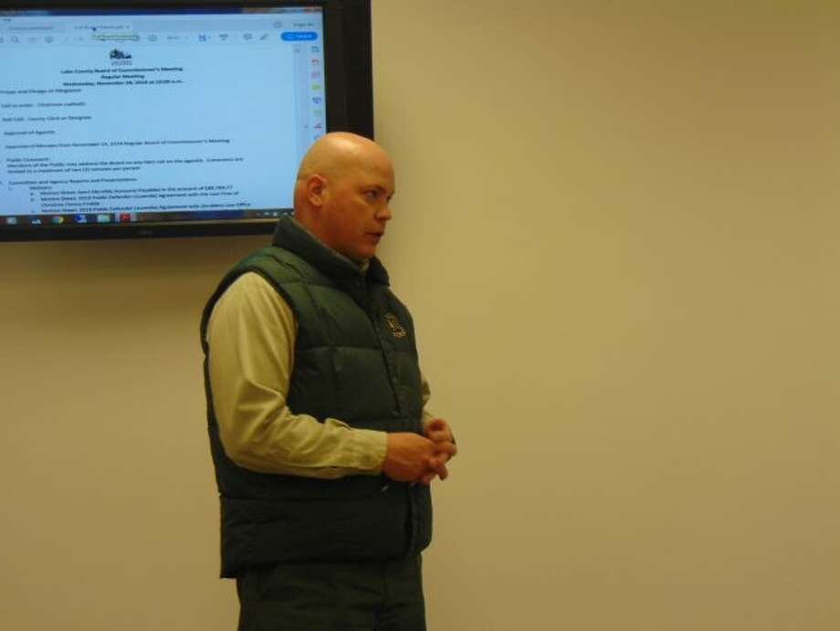 Forest Ranger Jake Lubera gave a year-in-review report at the commissioner meeting. (Star photo/Shanna Avery)