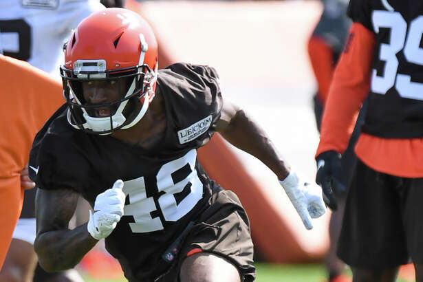 BEREA, OH - JULY 25, 2019: Defensive back Jermaine Ponder #48 of the Cleveland Browns participates in a drill during a training camp practice on July 25, 2019 at the Cleveland Browns training facility in Berea, Ohio. (Photo by: 2019 Nick Cammett/Diamond Images via Getty Images)
