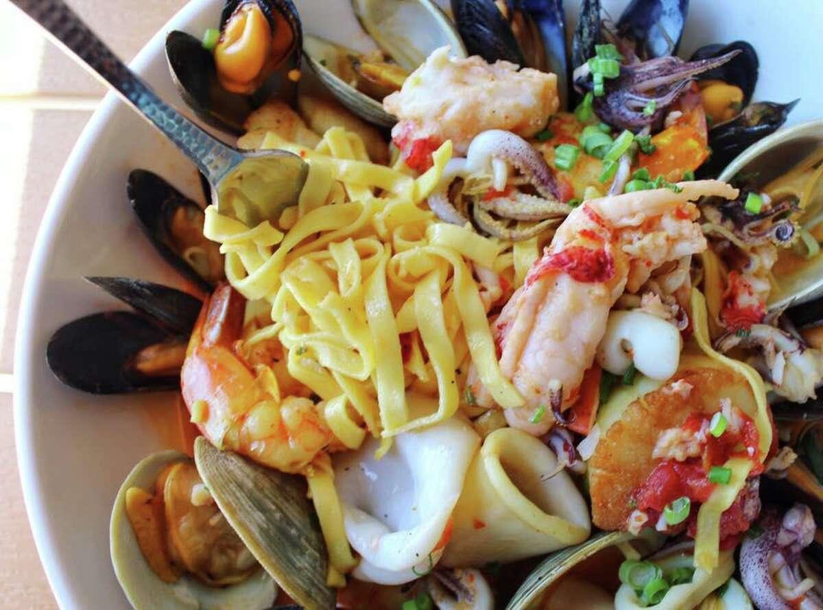 Boca's cioppini has lobster, mussels, clams, calamari, shrimp, scallops and white wine sauce over linguine.