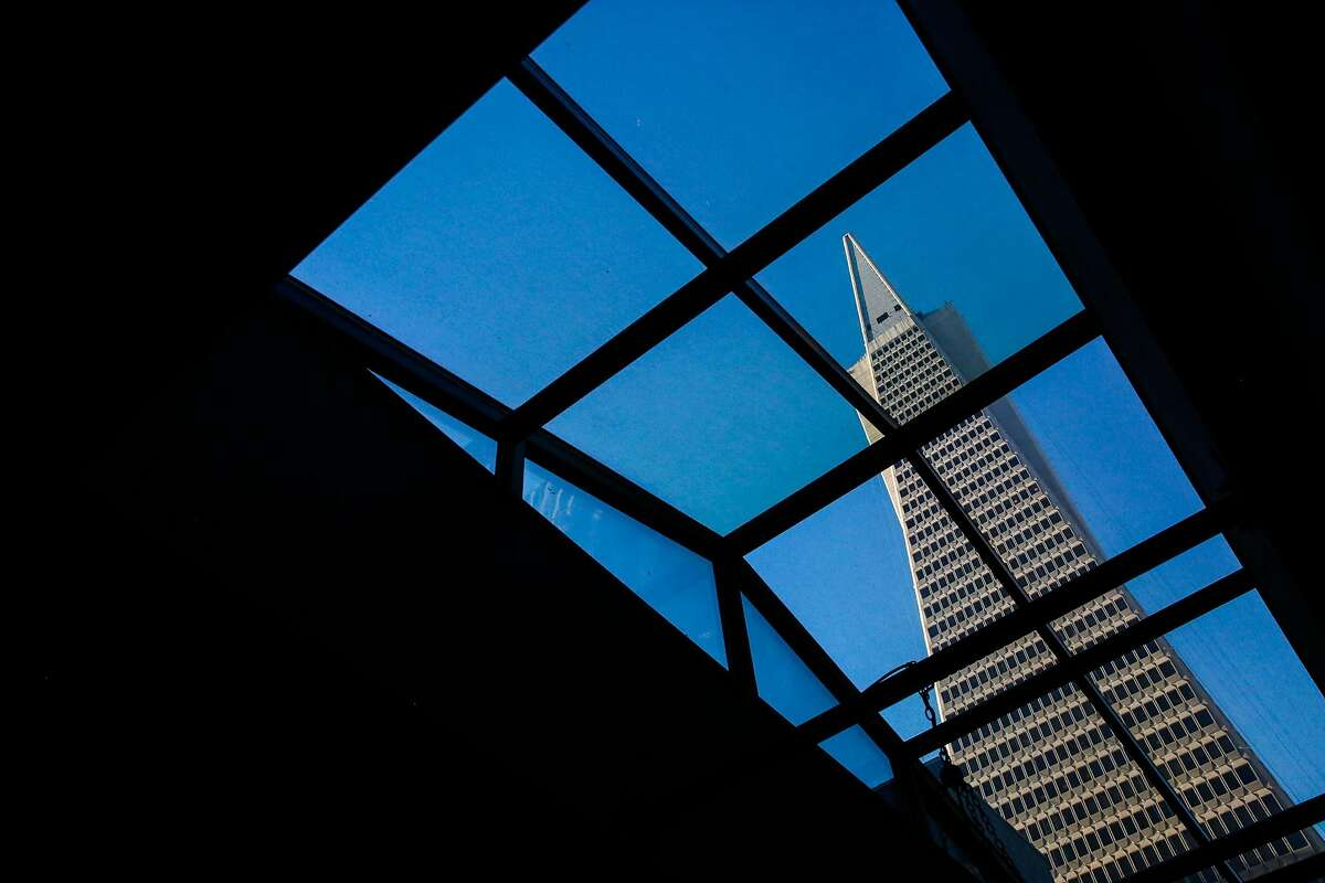 The Transamerica Pyramid is seen from the Sequoia bar in the financial district of San Francisco on Thursday, March 2, 2017.