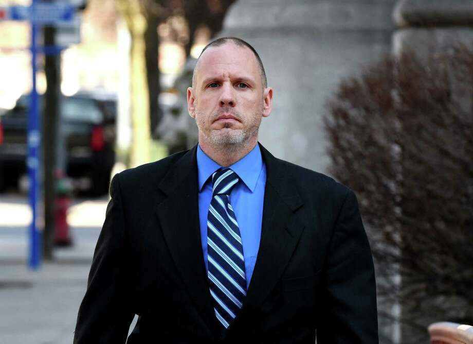Troy police sergeant Randall French enters the Rensselaer County Courthouse on Wednesday, March 20, 2019, in Troy, N.Y. Sgt. French fatally shot Edson Thevenin during a 2016 DWI traffic stop. He never faced charges after former Rensselaer County District Attorney Joel Abelove allowed him to testify with immunity A' a move that effectively ended any possible prosecution of the officer. He was in court for an unrelated trail. (Will Waldron/Times Union) Photo: Will Waldron / 40046487A