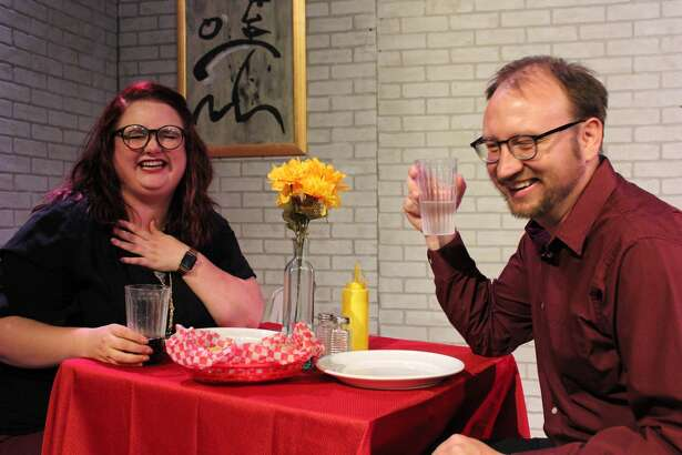 "Karen Rush, left, and Jonathan Parker perform in Neil LaBute's comedy ""Fat Pig,"" which runs Aug. 23 through Sept. 1 on the Black Box Stage at Pasadena Little Theatre."