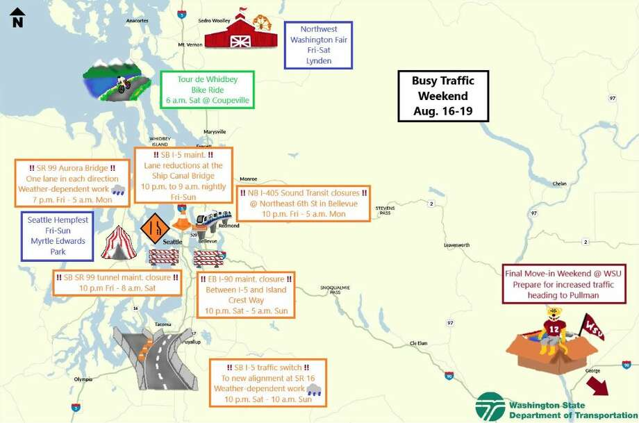 An MS Paint map shows closures and events that could lead to delays this weekend in Seattle. Photo: Courtesy WSDOT