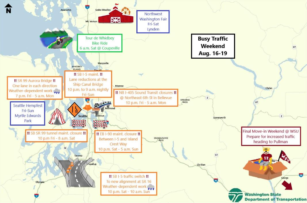 Prepare for delays: Road closures planned all weekend long in Seattle