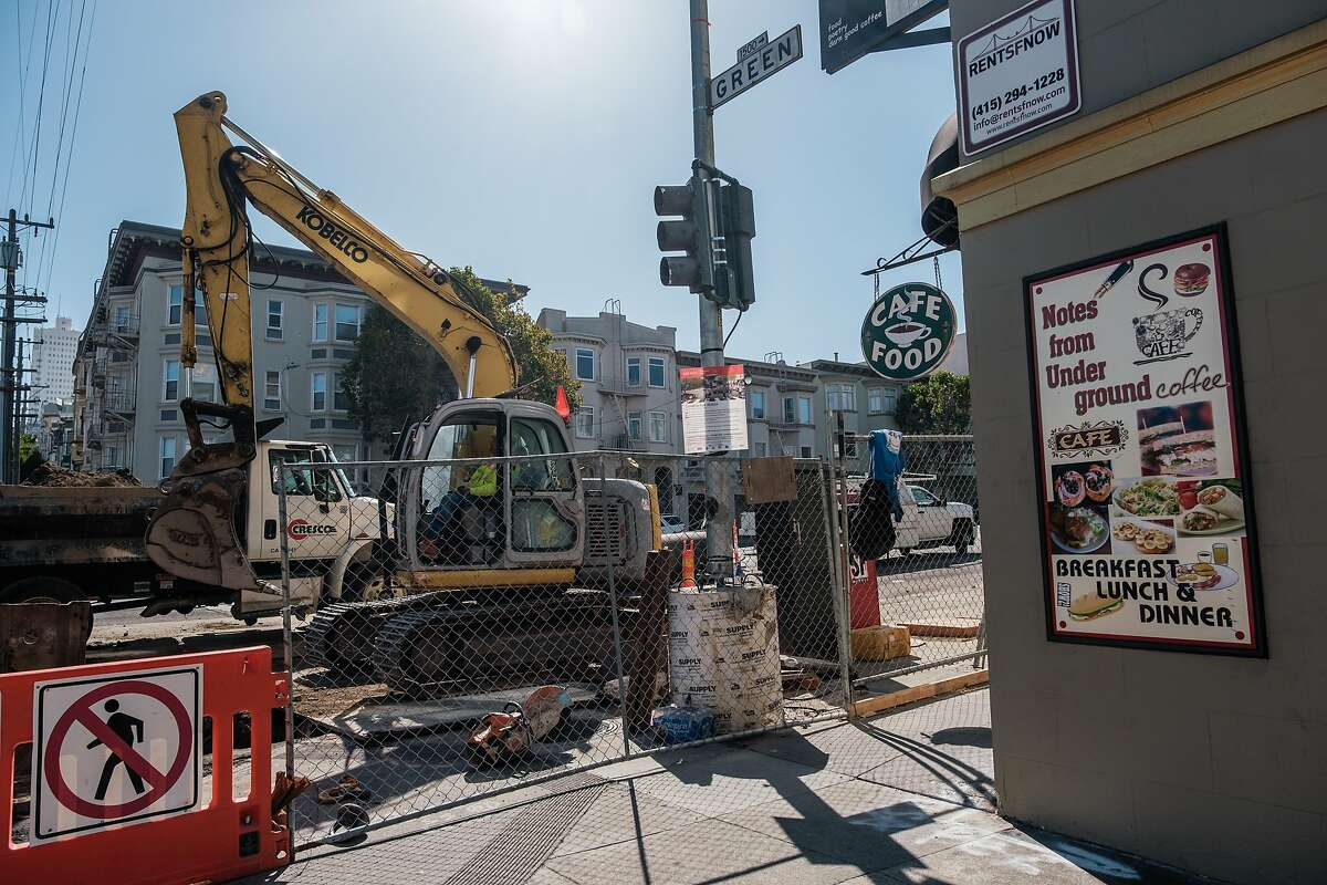 August 16, 2019 - Construction crews can be seen working on the corner of Van Ness and Green in front of the Notes from Underground Cafe. Muni says it's learned some lessons in the first phase of the Van Ness Ave project, and it's taking a new approach to construction that should speed things up and finish the street work by 2021. Merchants and residents have their doubts.