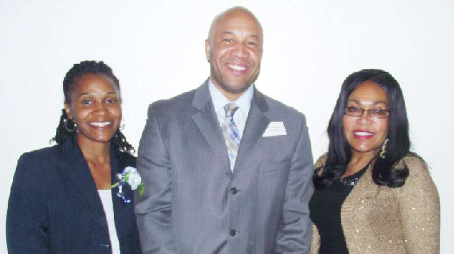 INSPIRATION: Baldwin Community Schools Superintendent Stiles Simmons served as guest speaker for FiveCAP's 36th Annual Head Start/Early Head Start Parent Volunteer Honors Banquet. He is pictured with his wife Wendy Simmons (left) and FiveCAP Head Start Executive Director Mary Trucks (right).