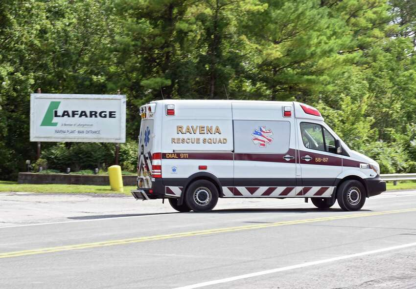 An rescue squad vehicle is seen leaving the Lafarge plant where an apparent fire happened on Friday, Aug. 16, 2019 in Ravena, N.Y. (Lori Van Buren/Times Union)