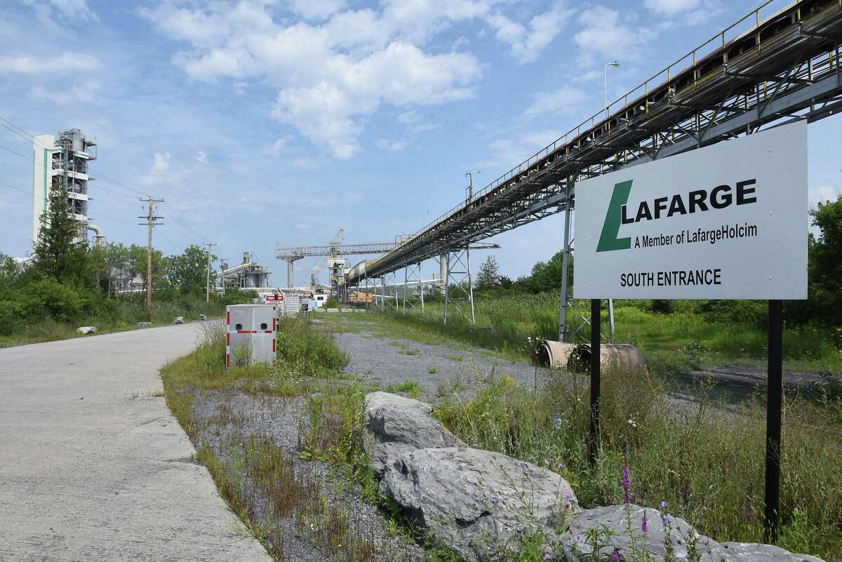 One of the entrances to the Lafarge plant where an apparent fire happened on Friday, Aug. 16, 2019 in Ravena, N.Y. (Lori Van Buren/Times Union)