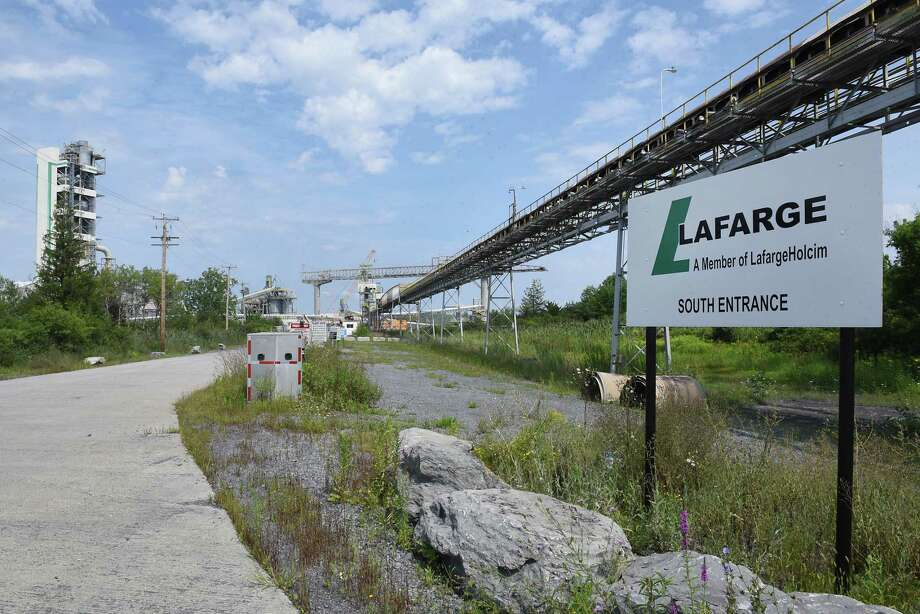 One of the entrances to the Lafarge plant where an apparent fire happened on Friday, Aug. 16, 2019 in Ravena, N.Y. (Lori Van Buren/Times Union) Photo: Lori Van Buren, Albany Times Union