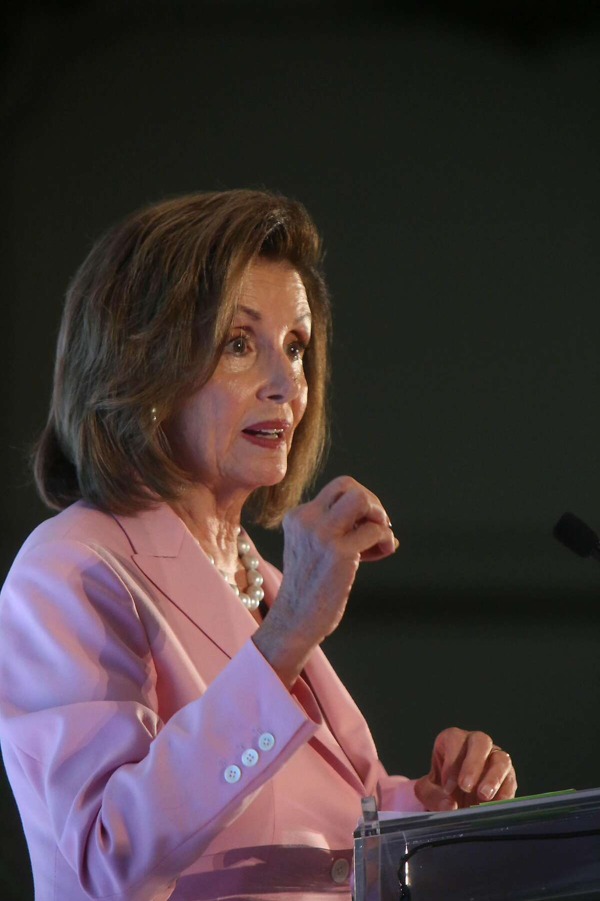 Nancy Pelosi, Speaker of the House, speaks during the Emily's List annual luncheon fundraiser in San Francisco at the Fairmont Hotel on Friday, August 16, 2019 in San Francisco, CA.