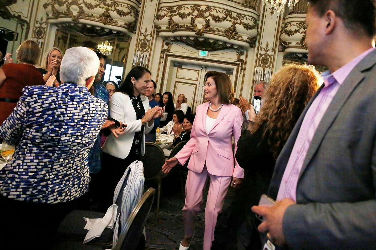 Nancy Pelosi, Speaker of the House, walks to the stage to give remarks during the Emily's List annual luncheon fundraiser at the Fairmont Hotel on Friday, August 16, 2019 in San Francisco, CA.