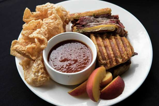 What's New at NRG Stadium? HTX brisket melt with peach barbecue.