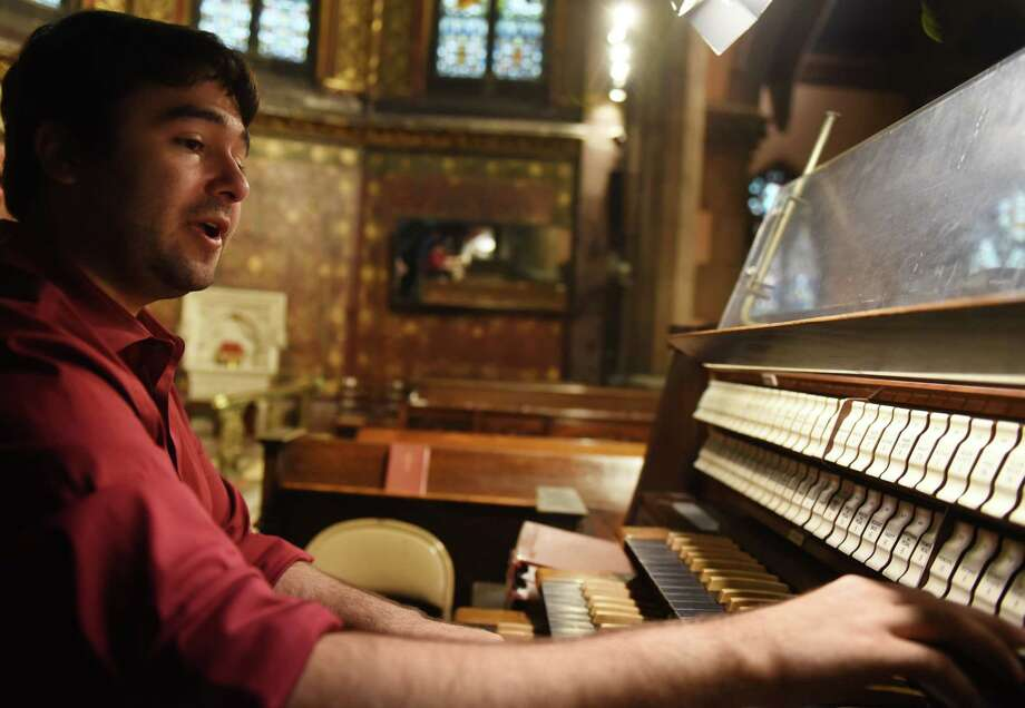 Aspiring concert organist Jacob Kruzansky practices his budding talents on the pipe organ at St. Peter's Episcopal Church on Tuesday, Aug. 13, 2019, in Albany, N.Y. (Will Waldron/Times Union) Photo: Will Waldron, Albany Times Union / 20047644A