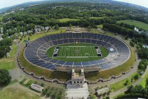 An ariel view of the Yale Bowl in New Haven, Conn. Yale Bowl, opened in 1914, will open the 2019 season with FieldTurf.