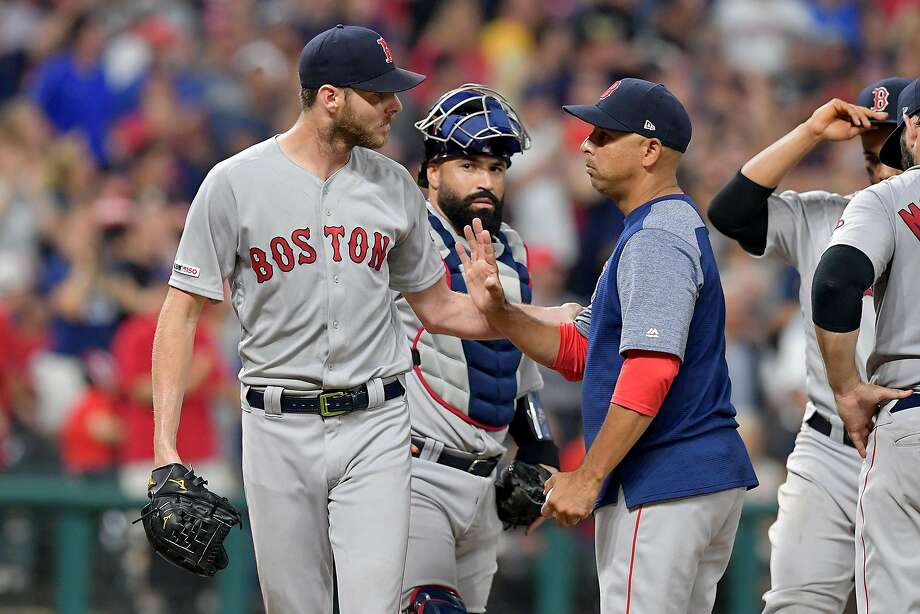 Chris Sale, left, is having the worst season of his career, one of the reasons the Red Sox have has not matched their performance in 2018, a season that ended with a World Series title. Photo: Jason Miller / TNS