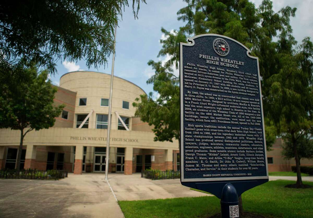 Wheatley High School's historic campus in Houston's Fifth Ward, Thursday, Aug. 15, 2019. The school may face closure after Thursday's release of state accountability ratings. To meet the standard in 2019, Wheatley had to receive an overall accountability score of 60 or higher, while also scoring 60 or higher on three out of the four domains used to calculate the final rating. Wheatley would have received an overall grade of 63, but it only hit the 60-point threshold on one out of the four domains. As a result, Wheatley's overall grade automatically lowered to 59 under state accountability rules.