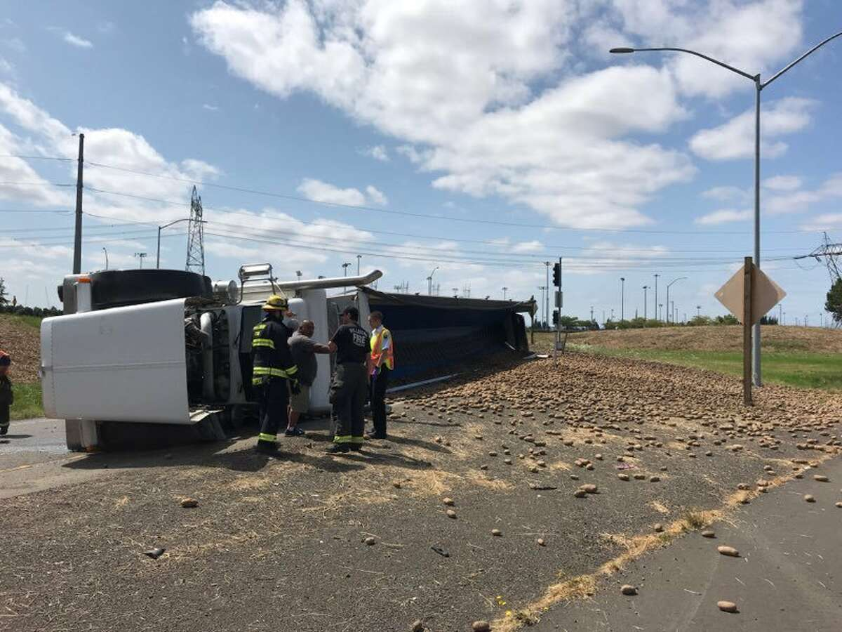On Friday Aug. 16 around 2 p.m. in Hillsboro, a city near Portland, Oregon, a semi-truck overturned, scattering potatoes across Highway 26.