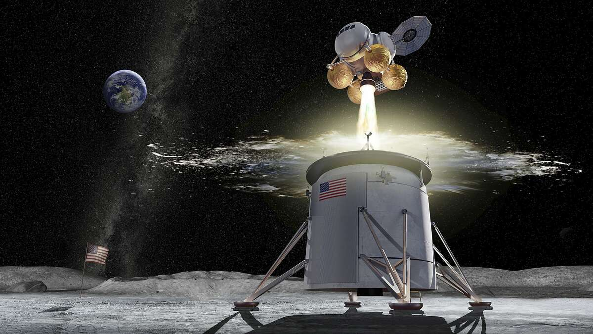 This illustration provided by NASA on Friday, Aug. 16, 2019, shows a proposed design for an Artemis program ascent vehicle leaving the surface of the moon, separating from a descent vehicle. On Friday, Aug. 16, 2019, NASA picked its Marshall Space Flight Center in Huntsville, Ala., to lead development of a lunar lander to carry astronauts back to the moon. (NASA via AP)