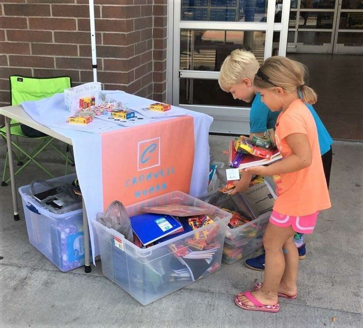 """Many residents stepped forward to """"Stuff-a-Bus"""" with back-to-school items earlier this month."""